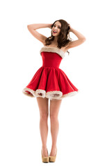 Beautiful happy woman in Santa Claus clothes