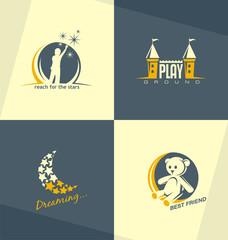 Unique and minimalistic kids logo design concepts