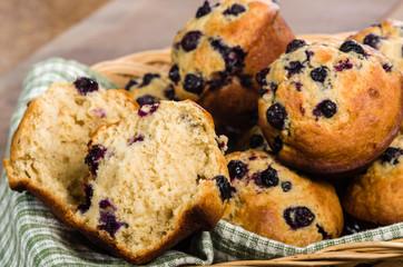 Basket of warm blueberry muffins