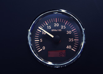 Dashboard, RPM sign, artistic toned photo