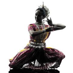 indian woman dancer dancing  silhouette