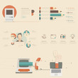 flat design concepts for business strategy and creative process.