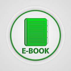 E-book circular icon on white background