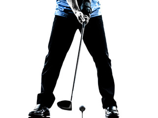 close up man golfer golfing  silhouette