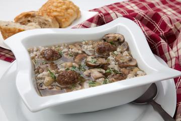 Mushroom Barley Soup with Mini Meatballs
