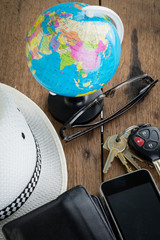 keys and world travel concept