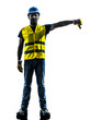 construction worker signaling safety vest lower boom silhouette