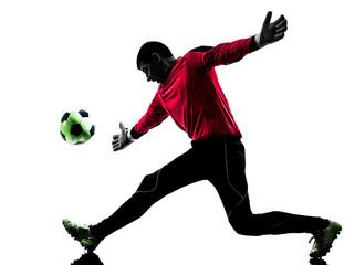 caucasian soccer player goalkeeper man catching ball silhouette