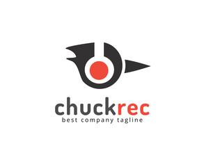 Abstract chuck head with headphones vector logo icon concept