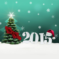 christmas tree happy new year 2015 turquoise