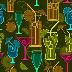 Set of cocktails on dark, seamless pattern, vector illustration