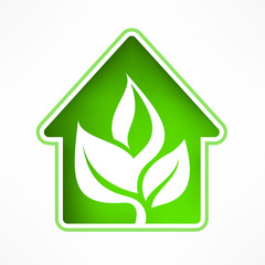 House symbol with green leaf, vector illustration