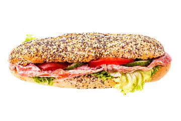 Sub sandwich over white