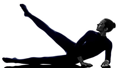 woman exercising stretching yoga silhouette