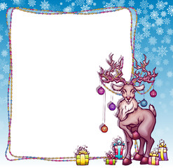 Vector illustration of Christmas deer in cartoon style
