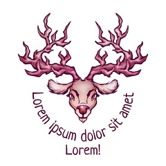 Vector illustration of deer in cartoon style