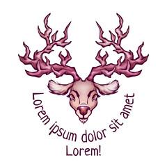 Vector illustration of deer in cartoon style