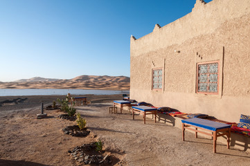 Bedouin camp and oasis in the sahara, Morocco, Africa