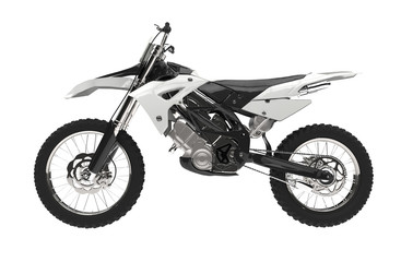 White motocross bike isolated on white background