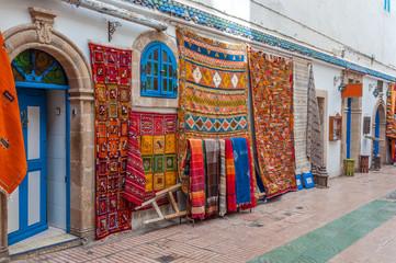 Oriental carpets for sale in the medina of Essaouira, Morocco