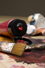 Artist Brushes and Red Paint