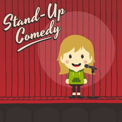 female stand up comedian cartoon character