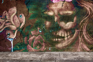background graffiti red catrina