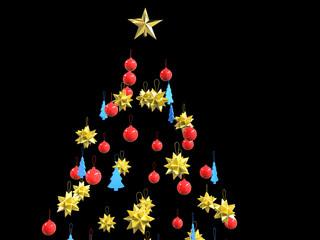 Christmas tree decorations - on black