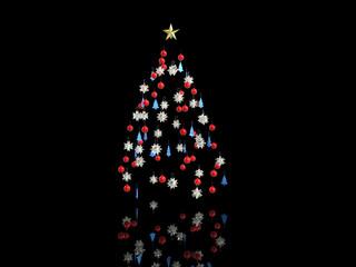 Christmas tree decorations - isolated on black