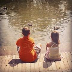 Childrens park duck watching
