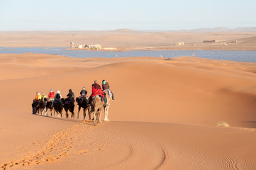 Caravan with tourists in the sahara desert. Morocco