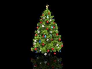 Xmas tree isolated on black reflective background