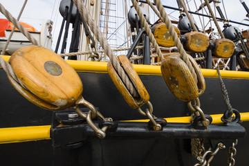 Detail of rigging of sailing ship.