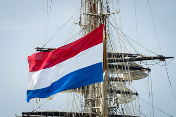 Flag of the Netherlands and the sailing ship.