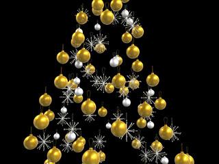 Gold and platinum xmas decorations