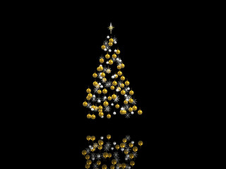 Gold and silver xmas decorations isolated on black