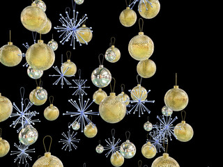 Gold and silver xmas decorations - isolated on black