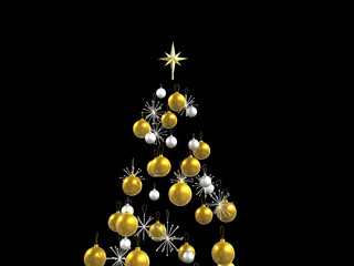 Top gold and silver xmas decorations isolated on black
