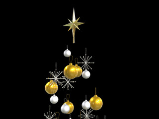 Christmas tree top decorations - isolated on black