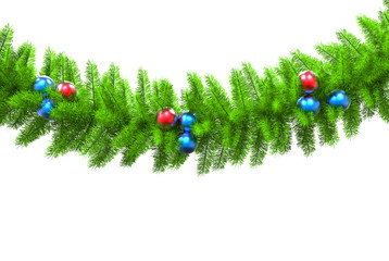 Christmas tree branch - isolated on white