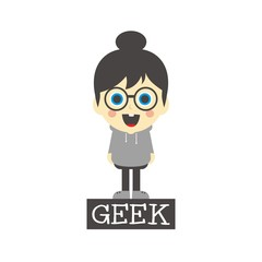 geek girl cartoon