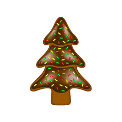 Christmas gingerbread in shape of tree with chocolate