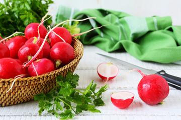 fresh red radish and greens
