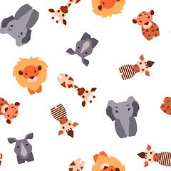 Vector seamless pattern with Safari animals