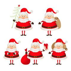 set of cute smiling Santa Claus