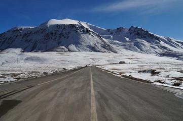 Road at Khunjerab pass at china-pakistan border in Northern  Pak