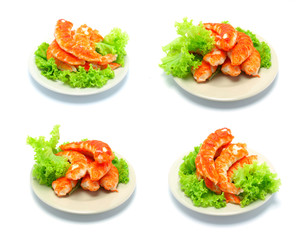 shrimps tails with green fresh origanum and lettuce