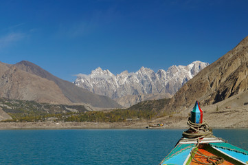 Tupopdan peaks while looking from the boat in Northern  Pakistan