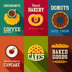 Bakery sweets retro style banners vector design