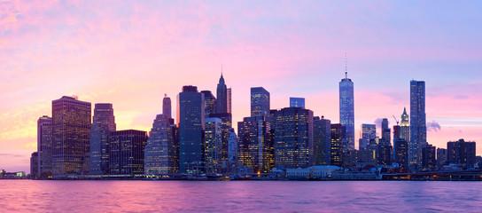New York City, USA. Downtown Manhattan  at sunset